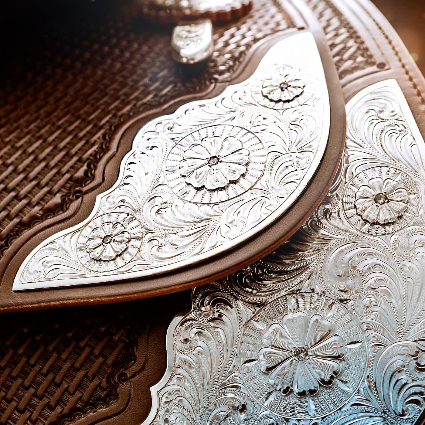 7G Sattel Materialien Silberbeschläge